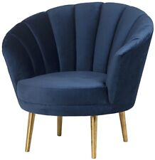 """36"""" W Letizia Occasional Chair Vertical Channeling Velvet Tapered Metal Legs"""