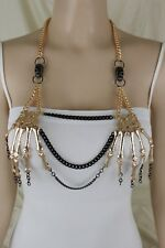 Women Gold Metal Body Chain Skeleton Fashion Jewelry Skull Long Necklace Biker