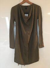 Edun Army Green Stretch Silk Jersey Long Sleeve Shirt Dress S Small New NWT