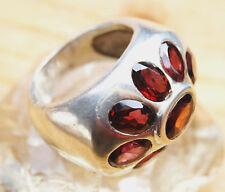Extrem Mächtig Silberring 61 Handarbeit Granat Breit Rot Ring Silber Schlicht