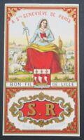 Ancienne étiquette FIL DE LIN STE GENEVIEVE Paris Lille french thread label 2