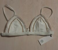 Ellejay Women's Bikini Top White and Gold Size Medium