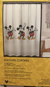 """Disney Mickey Mouse Shower Curtain Fabric 72"""" x 72"""" New"""