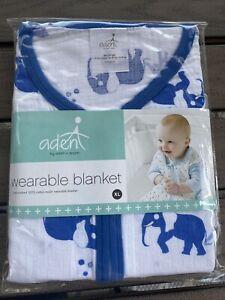 Aden + Anais Sleeping Bag Wearable Blanket Large 18-24 months Blue Elephants NEW