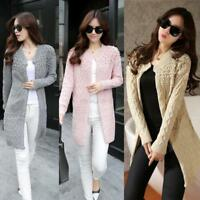 Womens Warm Knitted Long Sleeve Cardigan Loose Sweater Jacket Coat Outwear Tops
