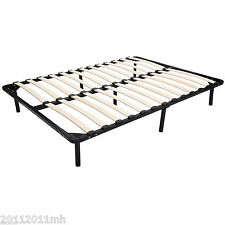 "HOMCOM 53 x 74"" Full / Double Size Solid Wood Steel Platform Slat Bed Frame"