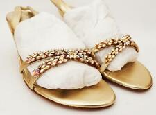 Stuart Weitzman Champagne Gold Leather Multi Crystal Sandals Low Heels Brand New