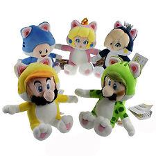 5X Super Mario Bros 3D World Cat Form Mario Luigi Peach Rosalina Toad Plush Toy