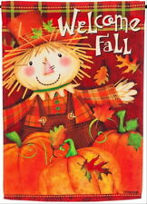New Evergreen Autumn Garden Flag Scarecrow Welcome Fall 2 Sided Pumpkins 12.5x18