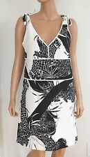 $350 SEE BY CHLOE Black White Floral Print Linen Cotton Dress IT-42 US-6