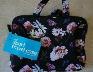 "IPad Tablet Reader Travel Zipper Case Black Floral 10"" x 7"" Digital Basics New"