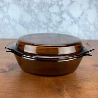 Anchor Hocking 433 Amber Glass Brown Casserole Dish with Lid Oval 1.5qt