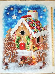 "Gingerbread House Peppermint Lane Digital Fabric Panel 31"" x 42""  #T4871"