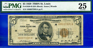 FR-1850-H - 1929 $5 National (( FRBN - St. Louis  )) PMG Very-Fine 25 # H37895A-