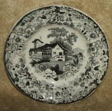 Mid 1800's Staffordshire Potteries Black Transfer Doll Plate or Butter Pat