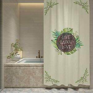 Dekali Designs Rustic Shower Curtain with Live Laugh Love Quote (72 x 72 Inches)