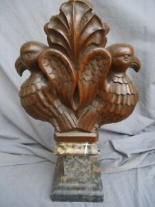 RARE 18TH CENTURY OAK CARVED PEW END TOP WITH PAIR OF BIRDS POPPY IN THE CENTER
