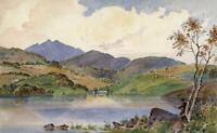 MOUNTAINS & LAKE POSSIBLY SNOWDONIA WALES? Watercolour Painting 19TH CENTURY