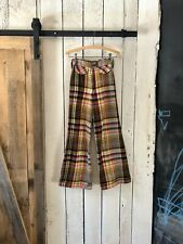 New listing Vtg 70s Brown Red Yellow Plaid Wool Trousers Wide Leg Flare Pants by Garland Xs