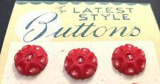 12 Delightful Vintage 1940s Red Glass 1.5cm Flower Buttons