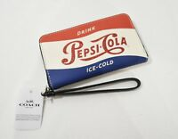 NWT Coach F26389 Leather Phone Wallet / Wristlet with Shimmery Pepsi Motif