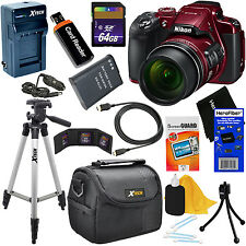 Nikon COOLPIX B700 Wi-Fi Digital Camera w/4K Video (Red) +Battery + 64GB Dlx Kit