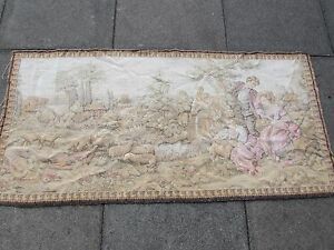 Machine Made French Design Original Wool faded Beige Aubusson Tapestry 74X153cm