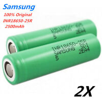 2X Authentic Samsung 25R 18650 2500mAh 20A High Drain Rechargeable Battery