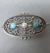 ❂ ► Feine Jugendstil- Brosche aus Silber 835, Türkis Perle, sehr schöner Zustand