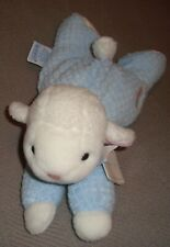 """EDEN ~ WHITE & BLUE BABY LAMB ~ 10"""" SOFT PLUSH TOY SAFE ALL AGES SHEEP KNIT NEW!"""