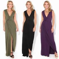 Womens Ladies Oversized Long Dress Plain Maxi Wrap V Neck Tight Sleeveless Slit