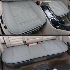 3Pcs Auto Sitzauflage autositzbezüge Schonbezüge PU Leder Bambus Kohle Gray