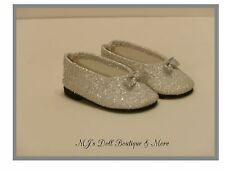 Silver Glitter Slip On Shoes fits American Girl Doll