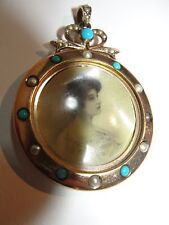 ANTIQUE JOHN GRINSELL & Son's DOUBLE SIDED LOCKET 9K GOLD TURQUOISE SEED PEARL