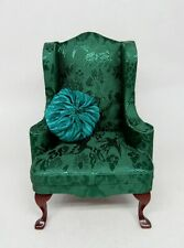 Vintage Green Wingback Chair With Pillow Dollhouse Miniature 1:12