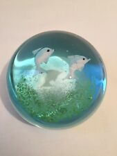 Glass Paperweight Featuring 2 Dolphins (ref P245)