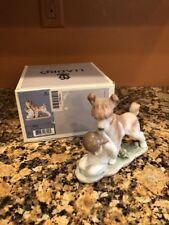 """Lladro 6556 """" Safe And Sound """" Dog & Child Porcelain Figurine 1998 Event"""
