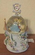 Disney Cinderella Prince Charming Music Snow Globe Castle Clock Dances Lights Up