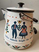 Vtg BERGGREN Swedish Folk Art Enamelware Coffee Pot Water Coffee Maketh Bright