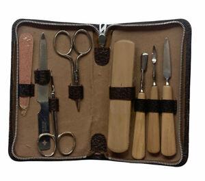 Vintage Manicure Pedicure Travel Kit 8 Piece Set Brown Case Complete Clean