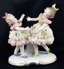 Beautiful Antique Sitzendorf Dresden Lace Figure 2 Little Girls Dancing