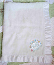 Cuddle Time 100% Acrylic White Satin Pastel Baby Toys Patch Baby Blanket Vintage