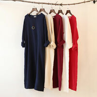 Women's O-Neck Dress Cotton Linen Long Sleeve Soft Loose Casual Nightdress Cosy