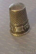 antique FRENCH STERLING SILVER THIMBLE hallmarked Greek Key & Shield pattern