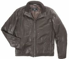 NEW HUGO BOSS DARK BROWN 100% GOAT LEATHER PADDED LINING AKUSO JACKET SIZE 44R
