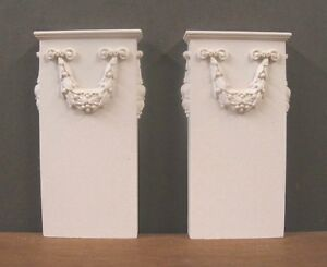 PAIR  OF BASES  FOR CARVED  WALL COLUMN~ 1:12 scale ~Dollhouse~Room Box- Artisan