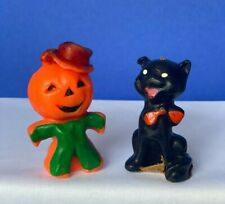Lot of 2 Vintage Halloween Candles - Jol Man and Cat - Gurley
