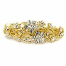 NEW Woman hair barrette Rhinestones Crystal gold plated Metal hair claws clips