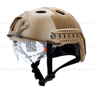 Military Tactics Airsoft Paintball SWAT Protective Fast Helmet With Goggle New