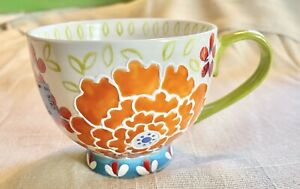 Dutch Wax by Coastline Imports Large Floral Coffee/ Tea Cup/ Mug With 3D Dots